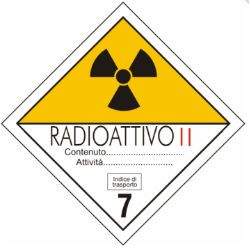 cartello adr materiali radioattivi categoria II