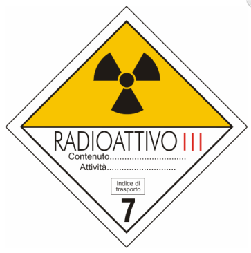 cartello adr materiali radioattivi categoria III